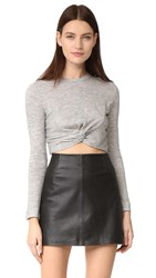 Kendall Kylie Knotted Long Sleeve Tee Light Heather Grey