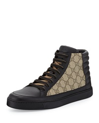 Gucci Common Leather High Top Sneaker Black Beige