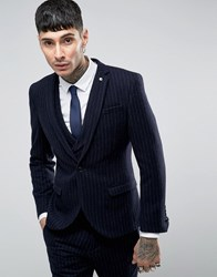 Noose And Monkey Skinny Suit Jacket In Brushed Pinstripe Navy