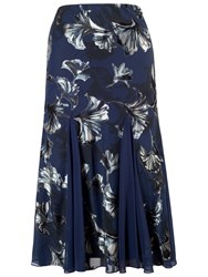 Chesca Contrast Trim Fan Print Skirt Navy