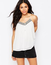 Daisy Street Cami Top With Botton Front And Metallic Trim White