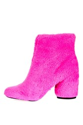 Topshop Hairy Harry Faux Fur Ankle Boots Pink