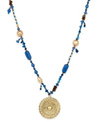 Macy's Gold Tone Beaded Medallion Pendant Necklace Blue