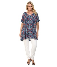 Nally And Millie Plus Size Ikat Tunic Blue Multi Women's Blouse