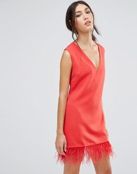 Daisy Street Shift Dress With Faux Leather Hem Red