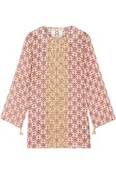 Figue Lisbette Embellished Printed Silk Georgette Tunic Beige