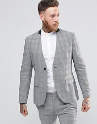 Religion Skinny Collarless Blazer In Prince Of Wales Check Grey