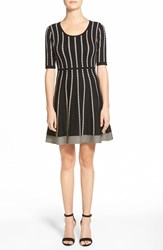 Women's Matty M Geo Stripe Short Sleeve Sweater Knit Fit And Flare Dress