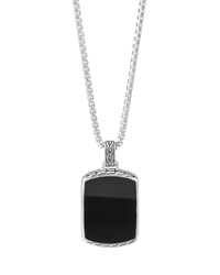 Men's Classic Chain Black Jade Tag Box Chain Necklace John Hardy