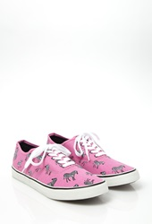 Forever 21 Zebra Print Canvas Sneakers Pink