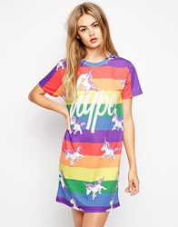 Hype T Shirt Dress With Rainbow Unicorn Print Multi