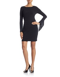 Jessica Simpson Fringed Sleeve Sheath Dress Black