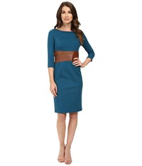 Nue By Shani Knit Dress With Leather Waistband With Built In Shapewear Azure Blue Luggage Women's Dress