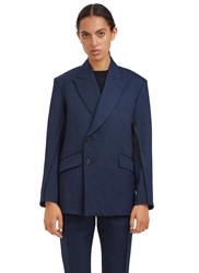 Yang Li Double Breasted Serged Stitch Blazer Jacket Navy