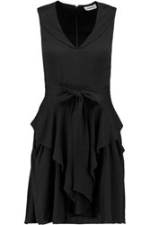 L'agence Gabby Ruffled Crepe Mini Dress Black