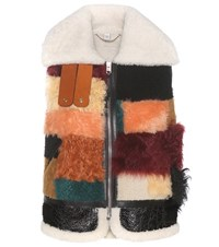 Coach Shearling And Leather Vest Multicoloured