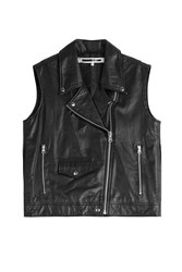 Mcq By Alexander Mcqueen Mcq Alexander Mcqueen Fringed Leather Biker Vest Black