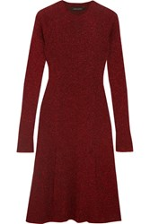 Cedric Charlier Metallic Ribbed Knit Dress Claret