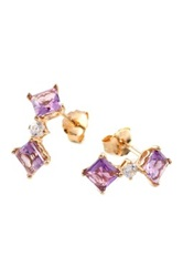 Gold Plated Sterling Silver Amethyst And Cz Dangle Earrings Pink