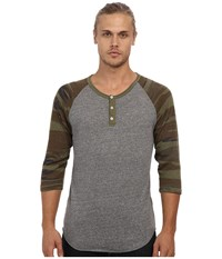 Alternative Apparel Printed 3 4 Raglan Henley Eco Grey Camo Men's Long Sleeve Pullover Gray