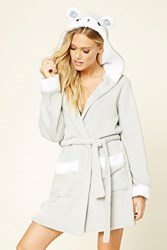 Forever 21 Hooded Bear Robe Grey White