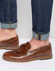 Asos Brogue Loafers In Tan Leather With Tassel Tan