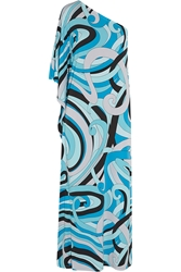 Michael Michael Kors One Shoulder Printed Stretch Jersey Maxi Dress Azure