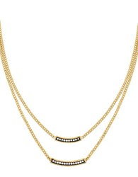 Cole Haan Crystal And 12K Yellow Gold Double Pave Bar Necklace