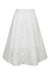 Topshop Mesh Floral Prom Style Skirt White