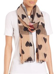 Burberry Heart Print Sheer Check Scarf Camel