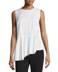 Akris Punto Sleeveless Asymmetric Peplum Top Cream