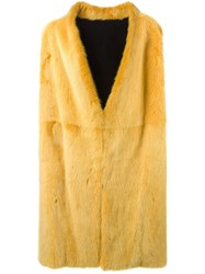 Liska Long Sleeveless Coat Yellow And Orange