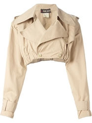 Fendi Vintage Cropped Trench Coat Nude And Neutrals