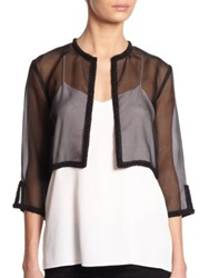 Harrison Morgan Silk Organza Woven Bolero Jacket Black