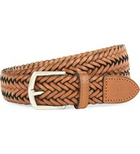 Ralph Lauren Braided Leather Belt Black White