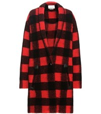 Etoile Isabel Marant Gabrie Check Wool Blend Coat Red