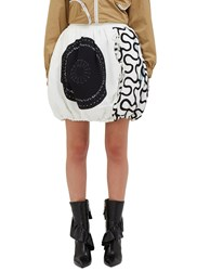 J.W.Anderson Squiggle Print Quilted Balloon Skirt White
