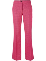 Yang Li Front Pleat Flared Trousers Pink Purple