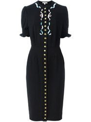 Olympia Le Tan Buttoned Dress Black