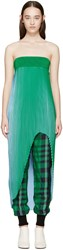 Stella Mccartney Green And Blue Pleated Top