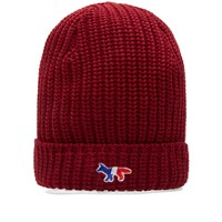 Maison Kitsune Ribbed Beanie Red