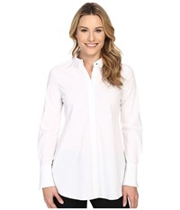 Ellen Tracy Fit And Flare Tunic Shirt E White Women's Long Sleeve Button Up