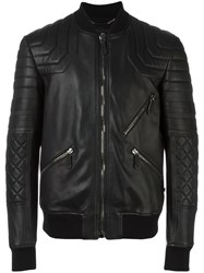 Philipp Plein Quilted Bomber Jacket Black