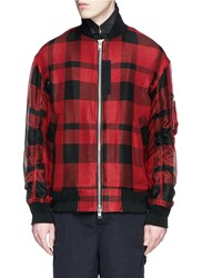 Sacai Check Plaid Extended Underlay Bomber Jacket Red