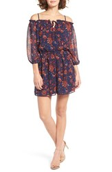 As U Wish Women's Floral Print Cold Shoulder Peasant Dress