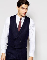 Hart Hollywood By Nick Hart 100 Wool Double Breasted Waistcoat In Slim Fit Blue
