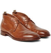 Officine Creative Princeton Polished Leather Chukka Boots Tan