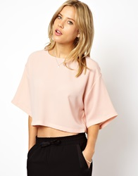 Asos Crop Top With Boxy Kimono Sleeve Paleblush
