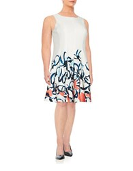 Ivanka Trump Plus Abstract Floral Dress Ivory Coral