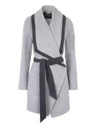 Jane Norman Grey Contrast Belted Coat Grey